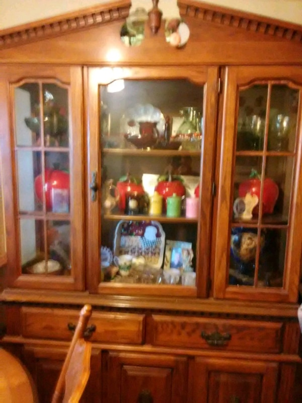 Huge China cabinet with lights and drawers
