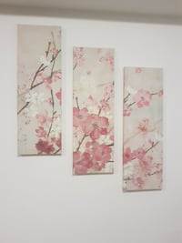 three pink Cherry Blossom paintings