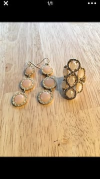 Pink and rhinestone earrings and ring set San Diego, 92110