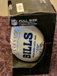 Buffalo bills full size football with autograph pen in box