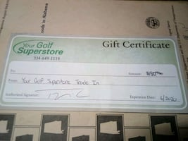 "Gift Certificate to ""Your Golf Superstore"""