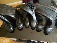 3 pairs of black leather boots