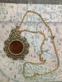 Vintage gold/amber colored long Greek print necklace Oklahoma City, 73145