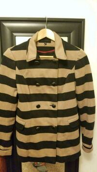white and black striped button up jacket Kalamazoo, 49006