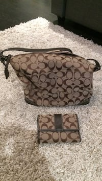Monogrammed brown Coach tote bag and wallet Toronto, M4K 2P9