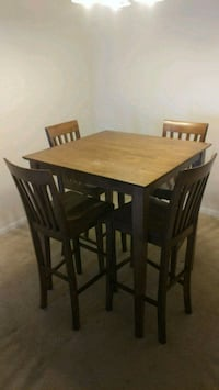 rectangular brown wooden table with four chairs dining set Katy, 77450