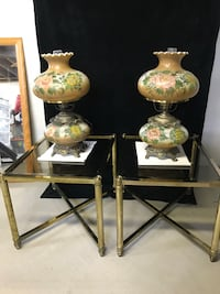 two white and green floral table lamps Farmingdale, 11735