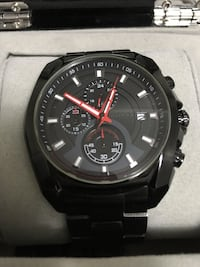 Men's black face chronograph watch 536 km