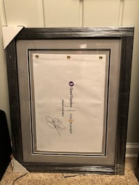 Autographed Ricky Fowler field flag framed