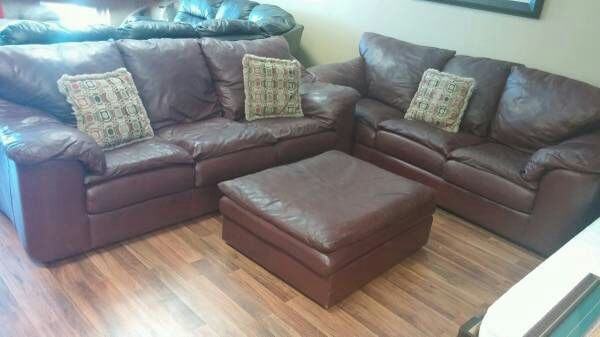 Sealy Burgundy Real Leather Sofa Set 2 Sofas Ott