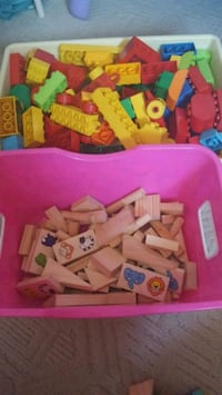 big bin of duplo lego and wood blocks Calgary, T3K