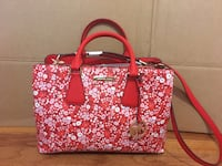NEW NWT MICHAEL KORS $368 LEATHER CAMILLE RED WHITE DARK SANGRIA FLOWER SATCHEL  39 km