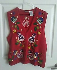 toddler's red, white, and blue snowman embroidered vest