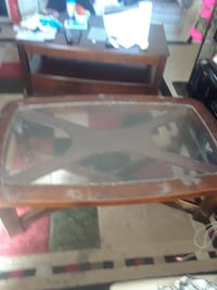 brown wooden framed glass top coffee table Toronto, M6M 3A9