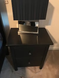 Black wooden 2-drawer nightstand with lamp Woodbridge, 22193