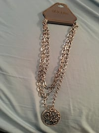 Triple Chain Necklace with pendant 8 mi