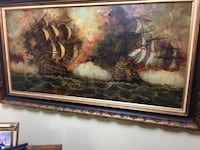 Sail ship painting with brown frame Clifton, 07011