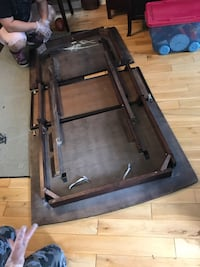 Wooden Table with leather insert
