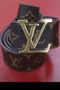 black and gray Louis Vuitton leather belt Sterling Heights, 48310