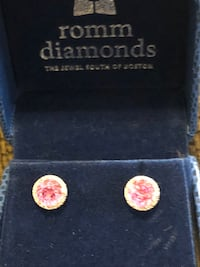 14k white gold earrings with pink Sapphire and diamonds around