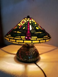 yellow, red, and green tiffany lamp