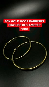 10k real yellow gold hoop earrings  Toronto, M1K 1N8
