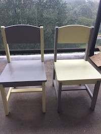two white wooden framed black padded chairs Alexandria, 22304