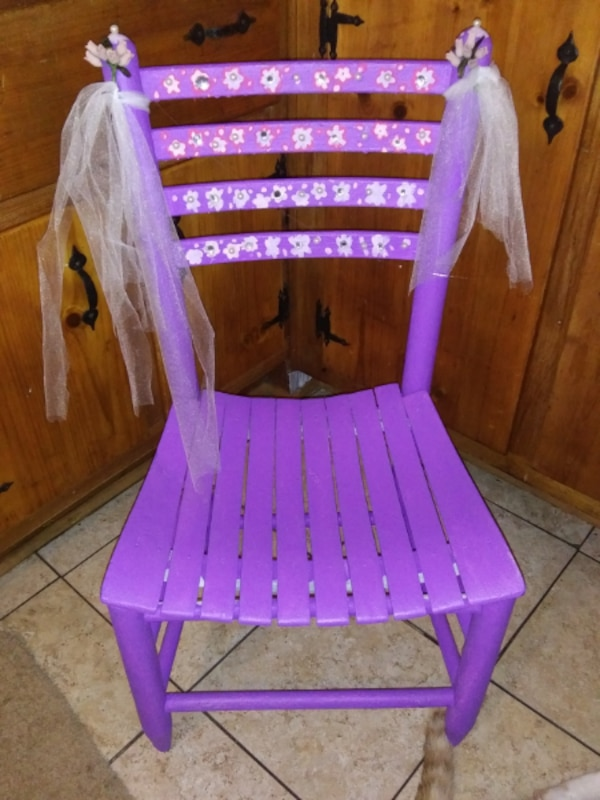 Used Purple And White Wooden Chair For Sale In Rocky Mount