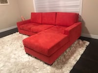 Red/Coral Micro fibre suede 3-seat sofa. Solid wood frame  Canadian made - Includes White Shaggy Rug - negociable  Cambridge, N3H 4R8