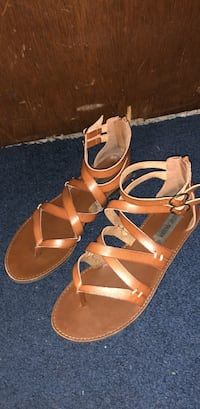 pair of brown leather open-toe sandals Smyrna, 37167