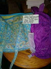 purple and blue floral tote bag
