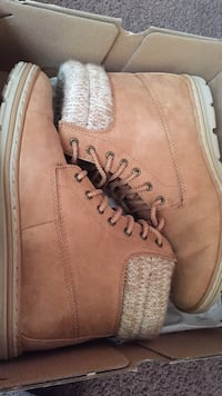 Pair of brown leather steel-toe work boots with box