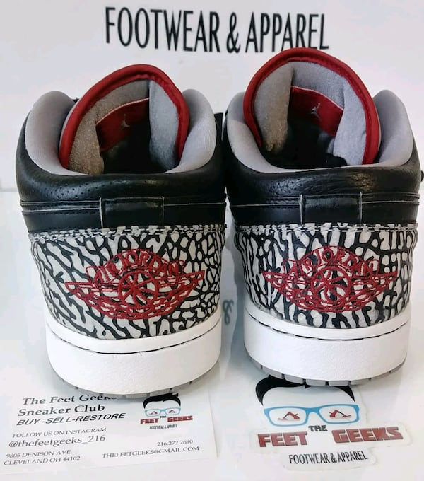 Sold Phat Air Jordan 1 Low Black Cement Mens Shoes In Cleveland