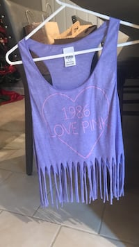 Purple and white fringe tank top