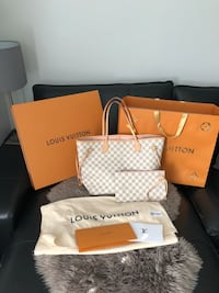 white and brown Louis Vuitton leather tote bag Oakville, L6H 2L5
