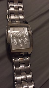 Square silver chronograph watch with silver link bracelet El Cajon, 92021