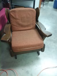 brown wooden framed brown padded armchair Decatur