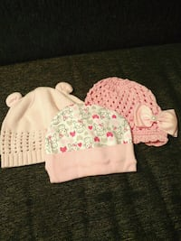 baby's white and pink knit caps 378 mi