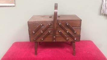 Antique Sewing box - made in Romania