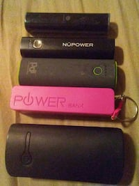 several assorted-brand power banks