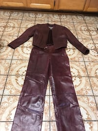 Burgundy  leather zip-up jacket and pants Wilson  Glendale, 91203