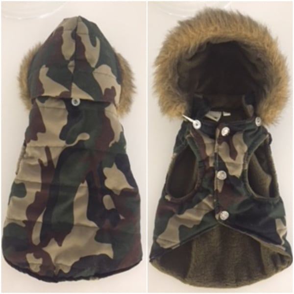 PET WINTER CAMOUFLAGE PARKA WITH REMOVABLE HOOD