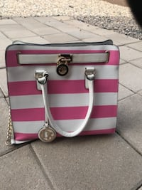 pink and white leather tote bag ALBUQUERQUE