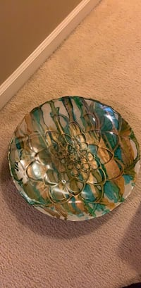 green and brown floral ceramic plate Woodbridge, 22192