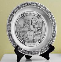 Pewter baby announcement plate with wooden plate stand ( blank plate ) San Diego, 92109