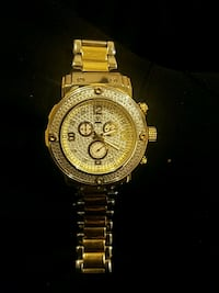 round gold chronograph watch with link bracelet Woodbridge, 22192