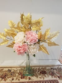 Gold leaf / artificial peony flowers  Queens, 11435