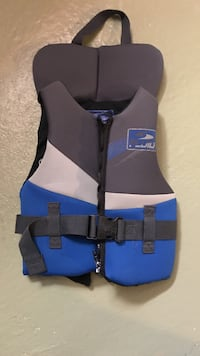 Gray and blue life vest