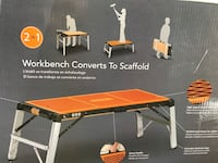 Folding workbench and scaffolding combination