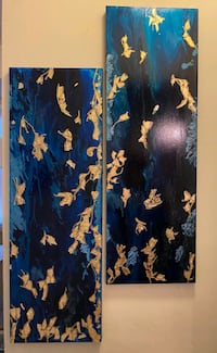 Blue & Gold Abstract Wall Art Panel Set